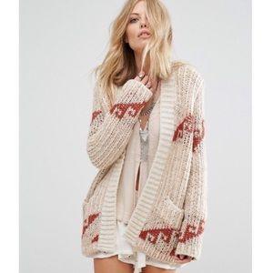 Oversized Tribal Print Chunky Wool Retro Cardigan